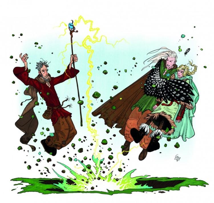 """Nyd den spændende historie og Lars Gabels fantasifulde illustrationer i """"Trolddom og Falkefjer"""""""