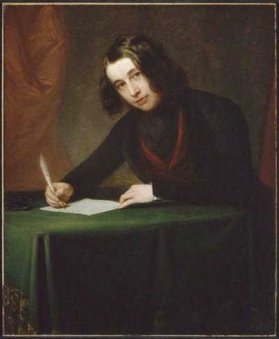 """Charles Dickens i 1842, året før udgivelsen af """"Et juleeventyr"""" (portræt af Francis Alexander)."""