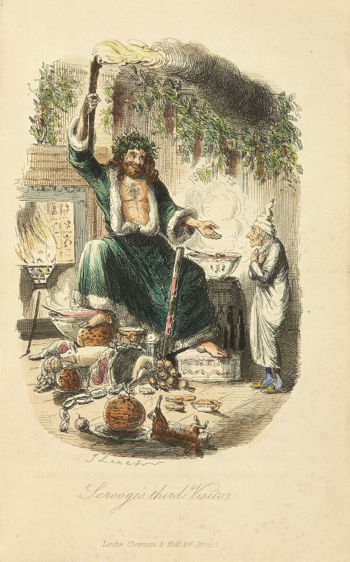 The Ghost of Christmas Present besøger Scrooge (illustration John Leech, 1843).