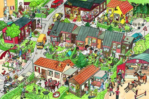 Kan du finde Fuglekiggeren i Mylderby? (Illustration fra bogen).